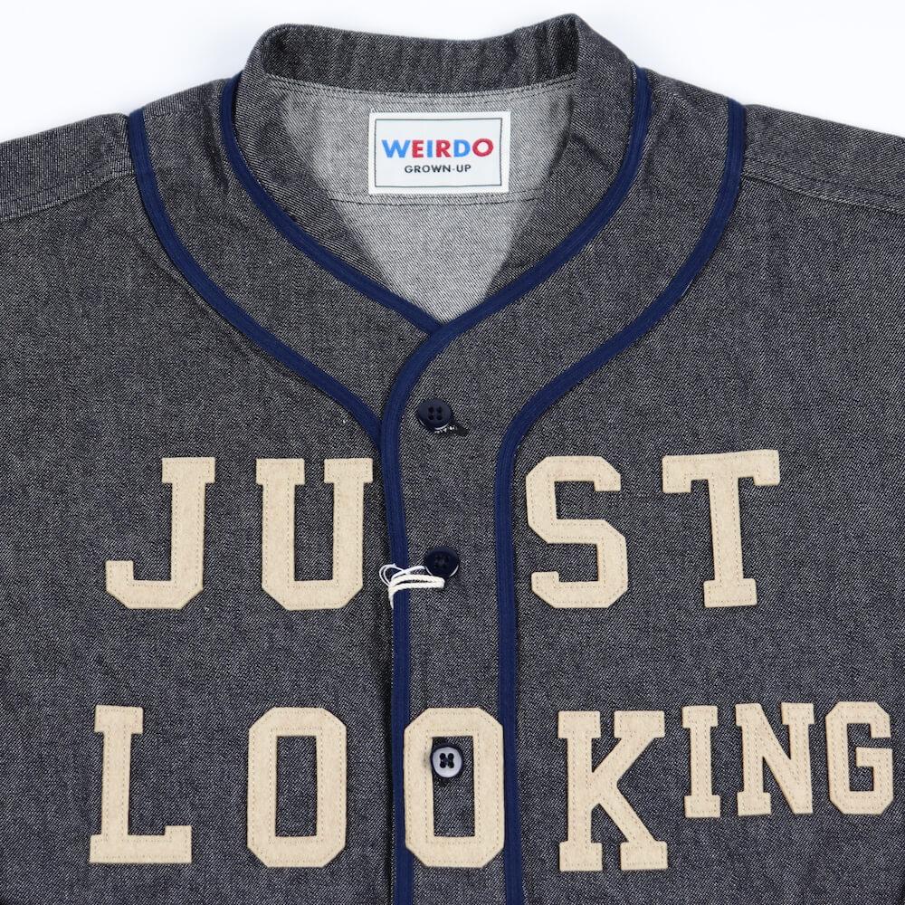 ウィアード デニム ベースボールシャツ 長袖 メンズ WEIRDO JUST LOOKING - L/S BASE BALL SHIRTS GLADHAND グラッドハンド GANGSTERVILLE ギャングスタービル OLD CROW オールドクロウ