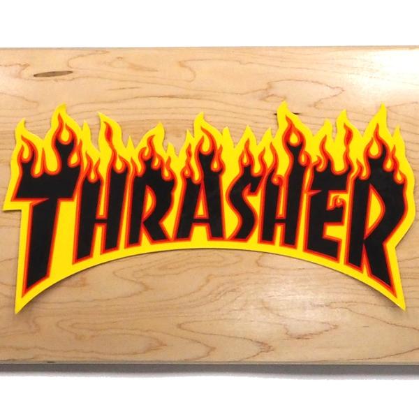 【ステッカー スケートボード スラッシャー】Thrasher Flame Large Black
