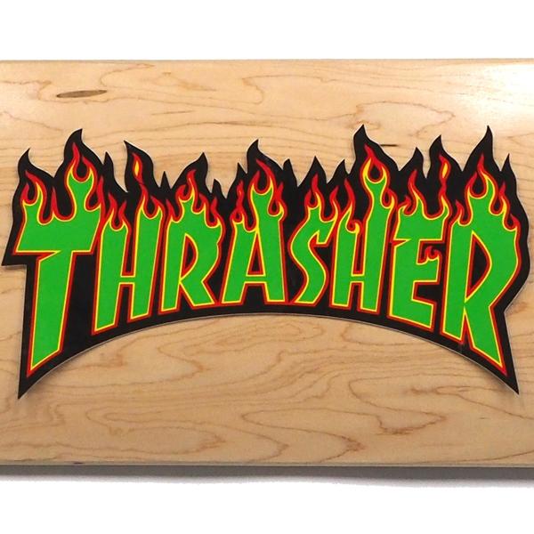 【ステッカー スケートボード スラッシャー】Thrasher Flame Large Green