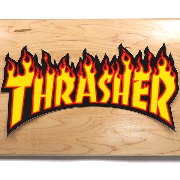 【ステッカー スケートボード スラッシャー】Thrasher Flame Large Yellow