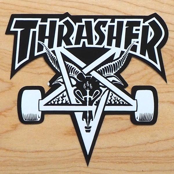 【ステッカー スケートボード スラッシャー】Thrasher Skategoat Medium Black