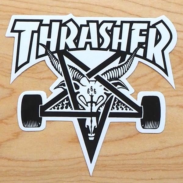 【ステッカー スケートボード スラッシャー】Thrasher Skategoat Medium White
