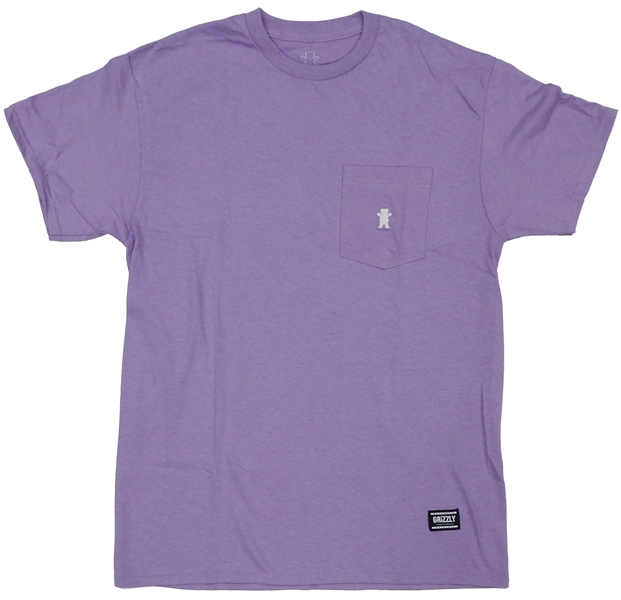 【Tシャツ スケートボード グリズリー】Grizzly OG Bear Embroidered Pocket Tee Lavendar