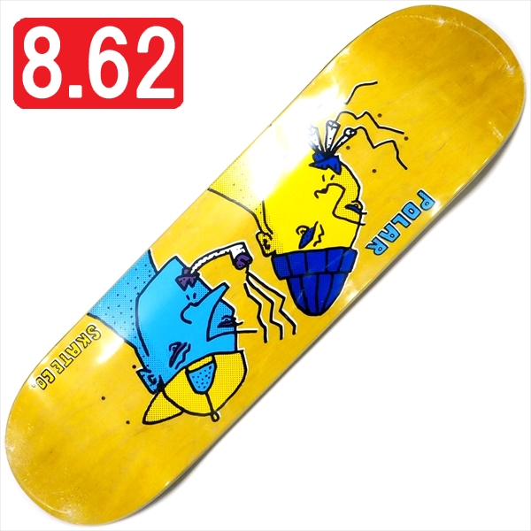 """【8.625"""" デッキ スケートボード ポーラー】Polar Team Smoking Heads 8.625"""" Yellow"""