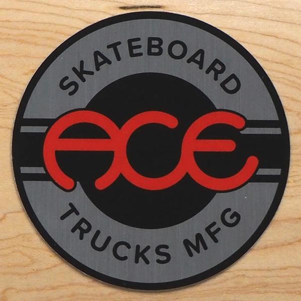 【ステッカー スケートボード エース】Ace Round Logo 4in Black Silver
