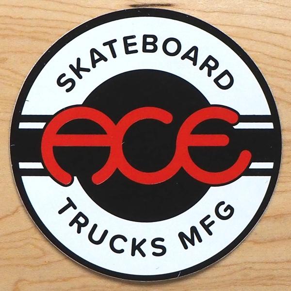 【ステッカー スケートボード エース】Ace Round Logo 4in Black White