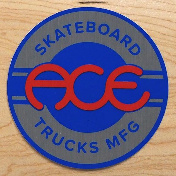 【ステッカー スケートボード エース】Ace Round Logo 4in Blue Silver