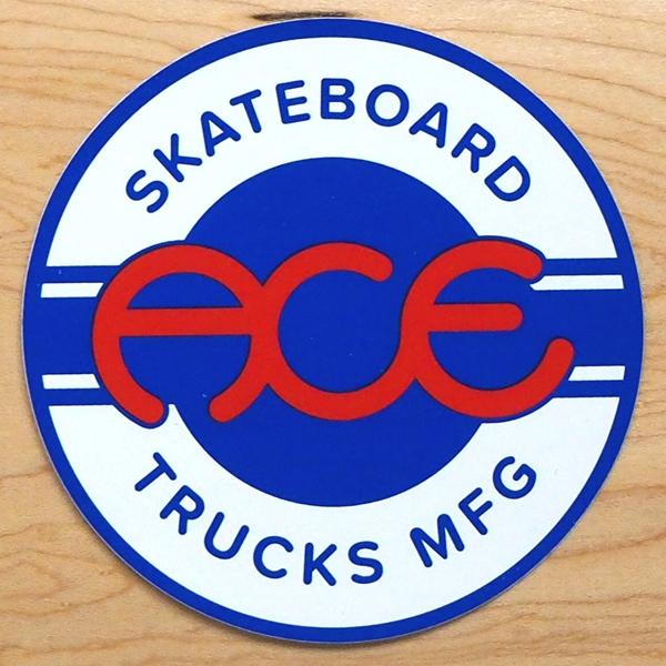 【ステッカー スケートボード エース】Ace Round Logo 4in Blue White