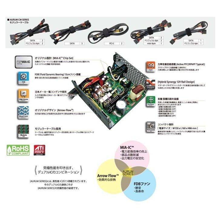 【Outlet品】【メーカー保証無】オウルテック FSP電源 AURUM CMシリーズ 650W 80PLUS GOLD AU-650M