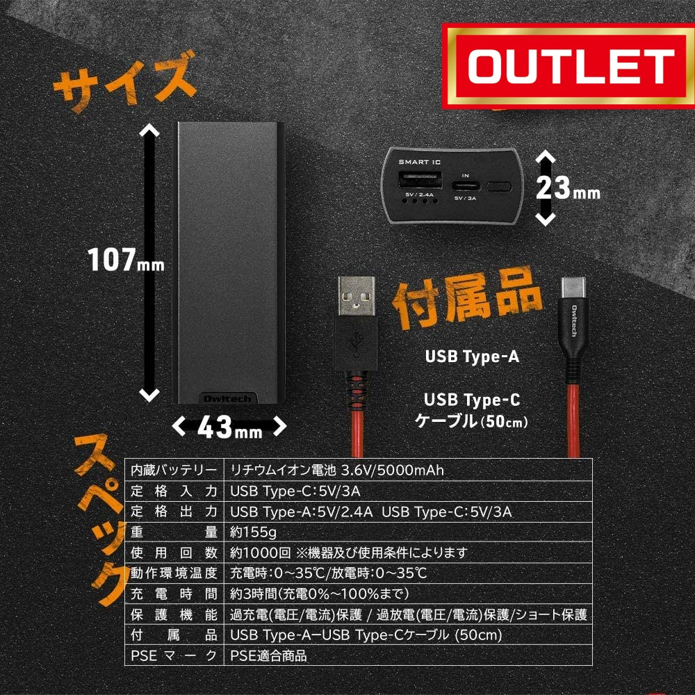 [未使用アウトレット]オウルテック 超タフ モバイルバッテリー 5000mAh 1000回繰り返して使える PSE Smart IC搭載 Type-Cポート 搭載 ガンメタ OWL-LPB5007-GM