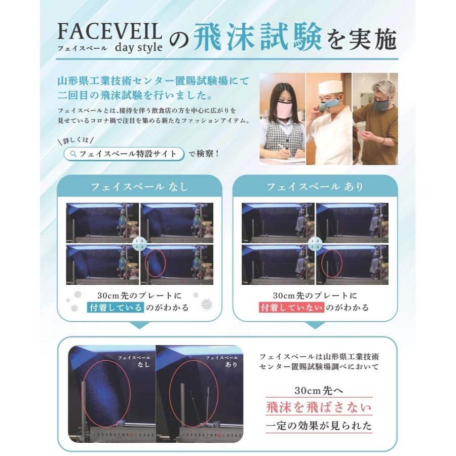 [米沢発!]飛沫試験済み 会食マスクの新バージョン フェイスベールデイスタイル エレガントシリーズ レースタイプ