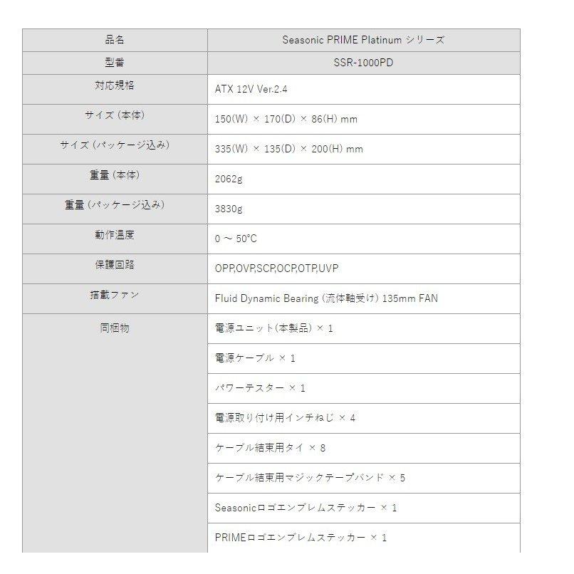 【Outlet品】【メーカー保証無】Seasonic製 80PLUS Platinum認証 PRIME ATX電源 1000W SSR-1000PD
