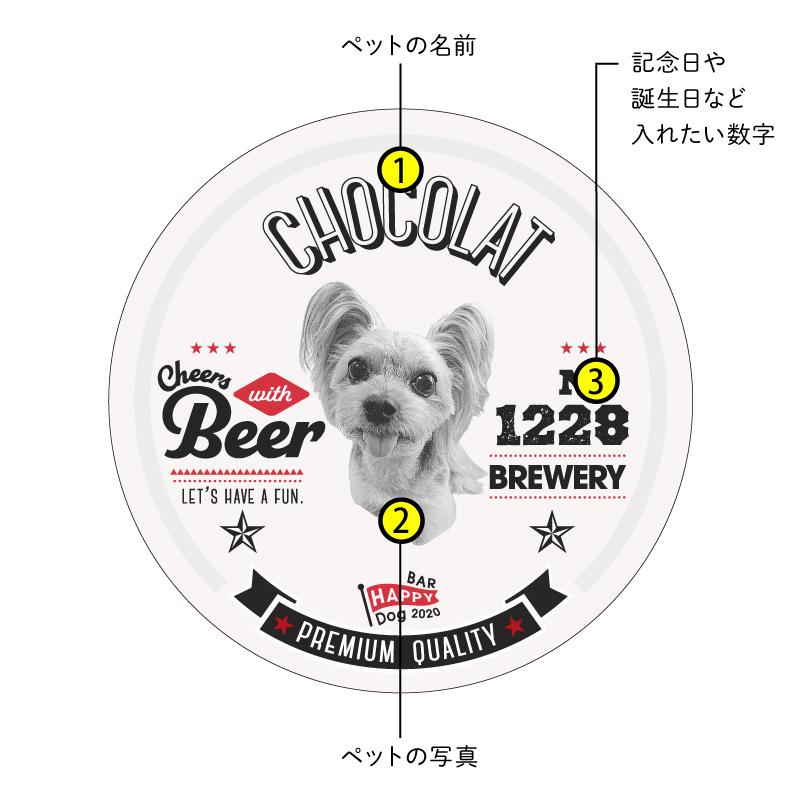 うちの子吸水コースター【Beer】多頭飼い《3匹》《各Basicデザイン1個×3》