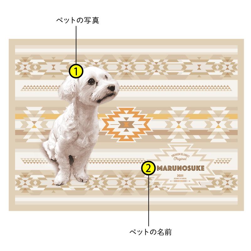 ペットの写真で作るオリジナルブランケット ベージュ系/Basic/フリース二重仕立て