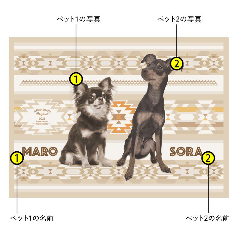 ペットの写真で作るオリジナルブランケット ベージュ系/多頭飼い/2匹/フリース二重仕立て