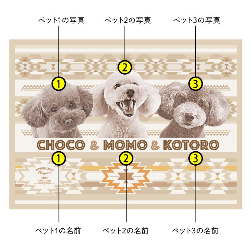 ペットの写真で作るオリジナルブランケット ベージュ系/多頭飼い/3匹/フリース二重仕立て