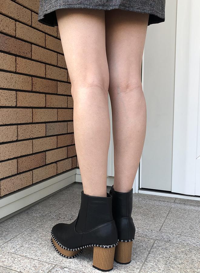 ウッドソール調ステッチブーツ