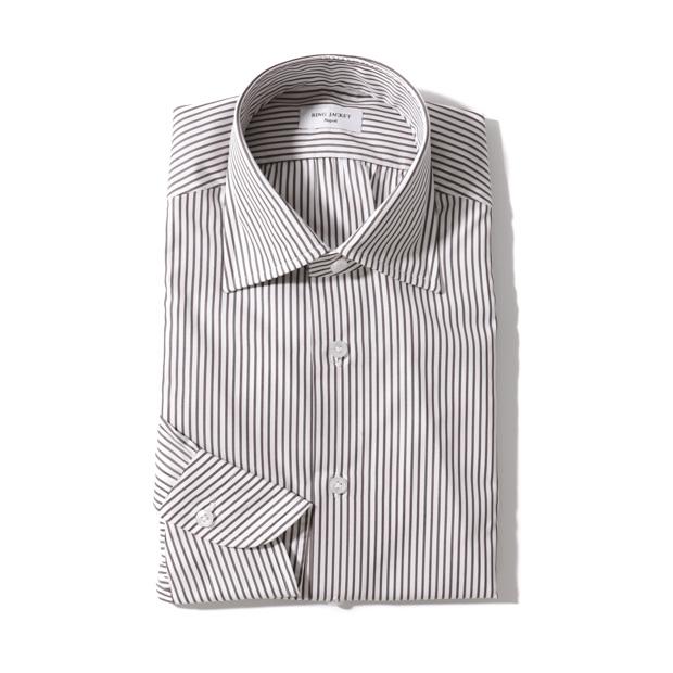 RING JACKET Napoli ブロード レギュラーカラーシャツ 【ブラウン・ストライプ】