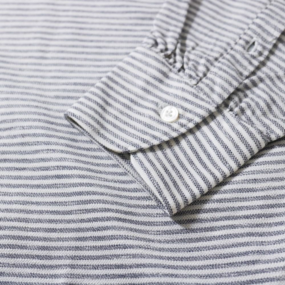 RING JACKET Napoli リングヂャケットナポリ ハンド8工程 セミワイドカラーコットン鹿の子ポロシャツ【ネイビー×ホワイト/ボーダ】