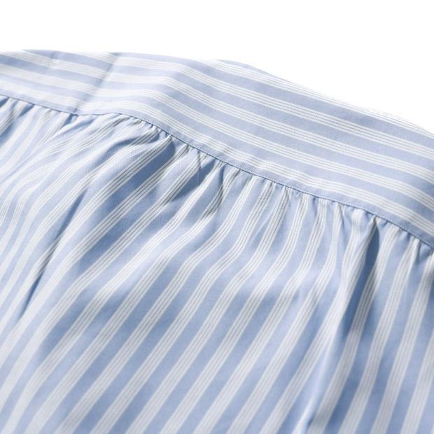 RING JACKET Napoli オックスフォード バンドカラーシャツ 【ブルー・ストライプ】