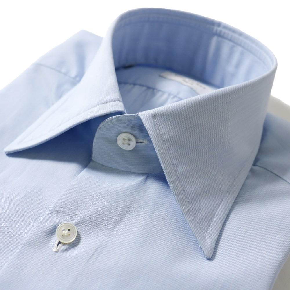 RING JACKET Napoli リングヂャケットナポリ ハンド9工程 TOSSETI ロングポイントレギュラーカラーシャツ【ブルー/無地】