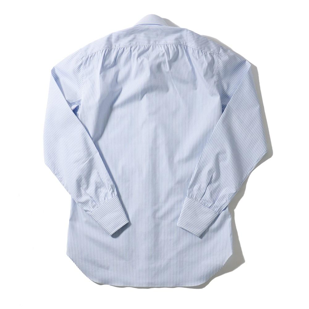 RING JACKET Napoli リングヂャケットナポリ ハンド9工程 TOSSETI ロングポイントレギュラーカラーシャツ【ブルー/ストライプ】