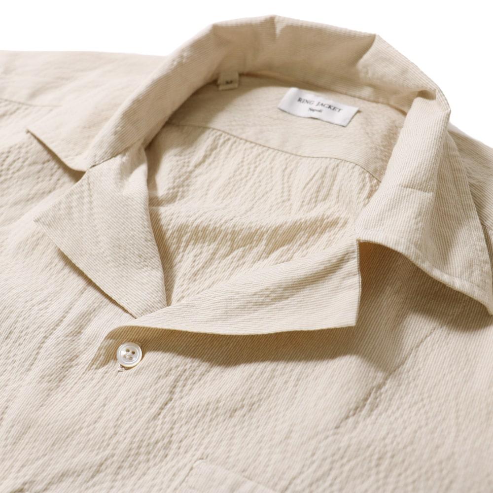 RING JACKET Napoli リングヂャケットナポリ ハンド9工程 シアッサッカー半袖オープンカラーシャツ【ベージュ/ストライプ】
