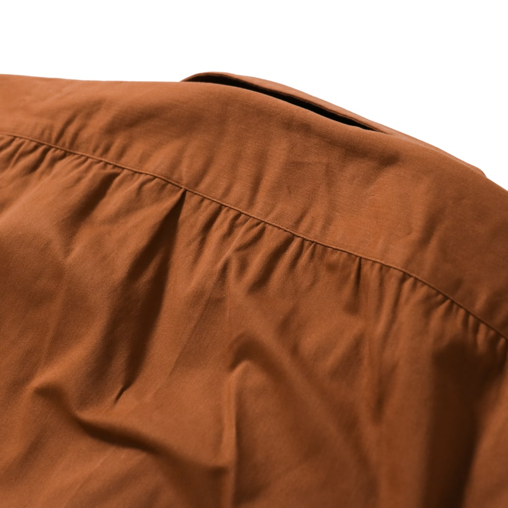 RING JACKET Napoli リングヂャケットナポリ ハンド9工程 コットン・ポリウレタン半袖オープンカラーシャツ【オレンジ/無地】