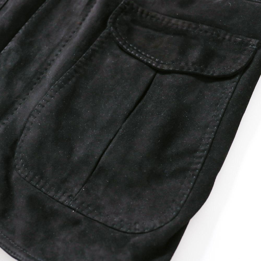RING JACKET Napoli リングヂャケットナポリ シープスキンスエード サファリジャケット【ブラック/無地】