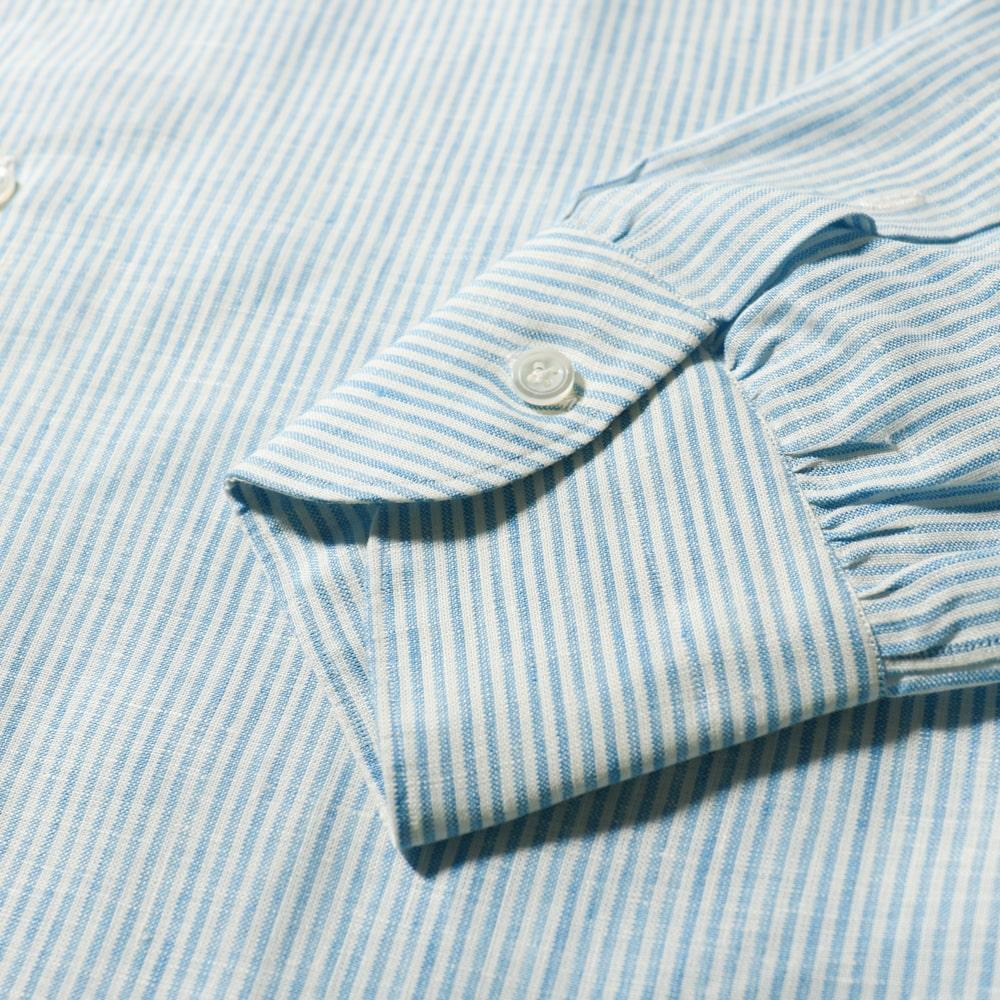 RING JACKET Napoli リングヂャケットナポリ ハンド9工程 TOSSETI リネン ヒドゥンボタンダウンワンピースカラーシャツ【ブルー/ストライプ】