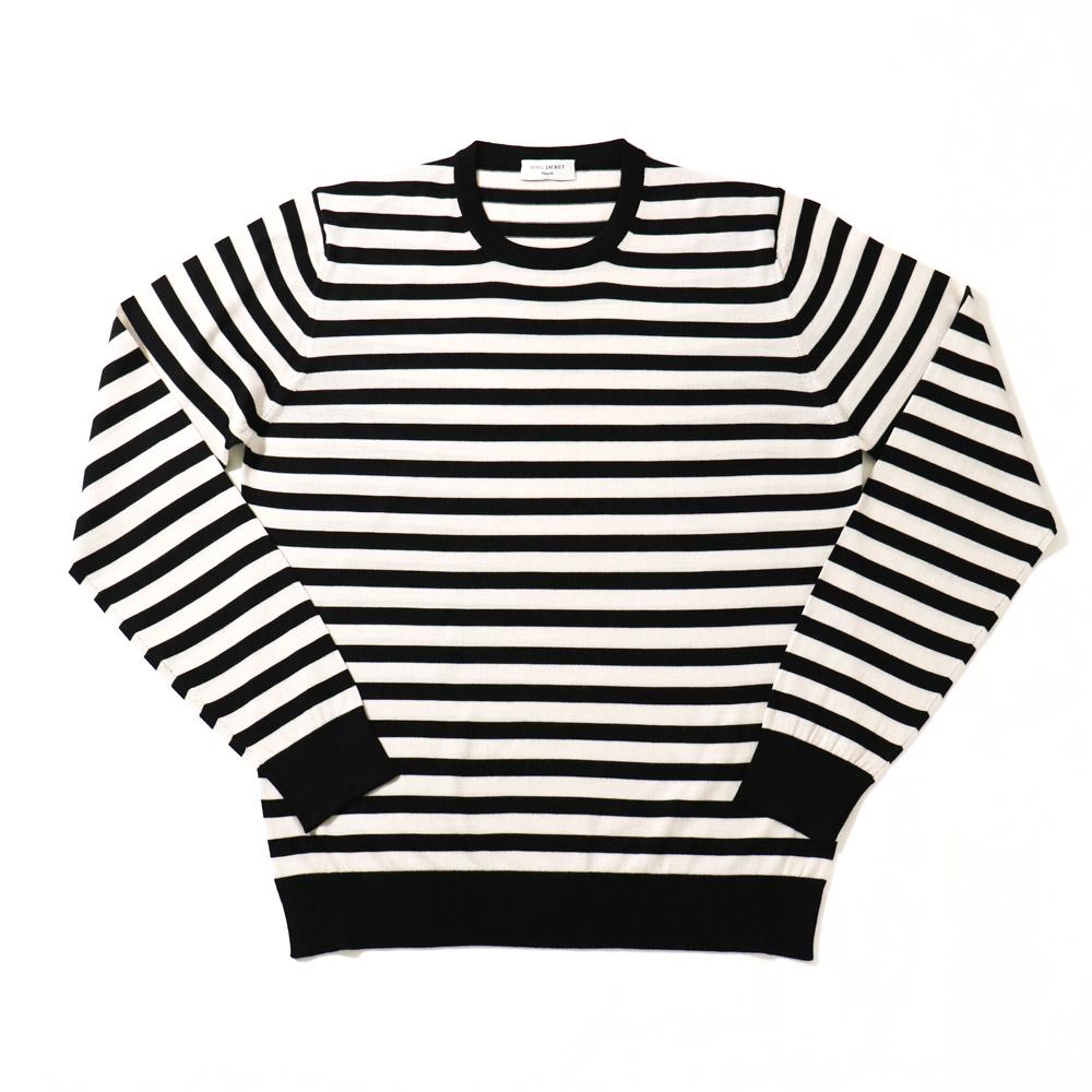RING JACKET Napoli リングヂャケットナポリ ハイゲージ ボーダーウールクルーネックセーター【ネイビー×ブラウン・ホワイト×ブラック/ボーダー】