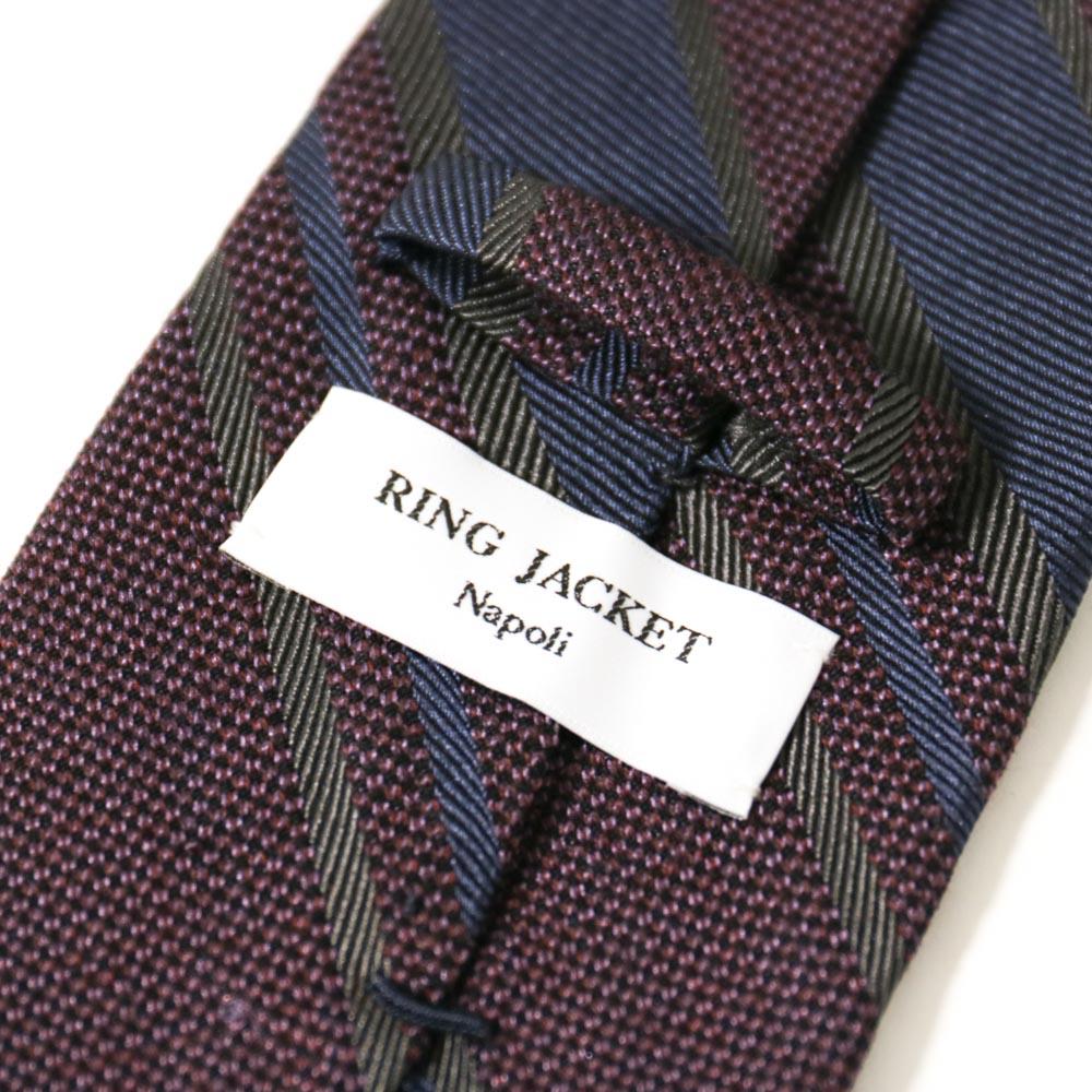 RING JACKET Napoli リングヂャケットナポリ シルクレジメンタルタイ SFODERATA 【ブラウン・パープル】