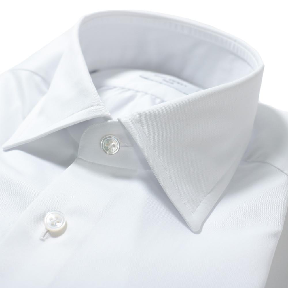 RING JACKET Napoli リングヂャケットナポリ ハンド9工程 MILETA 100/2×100/2 TWILL レギュラーカラーシャツ【ホワイト/無地】