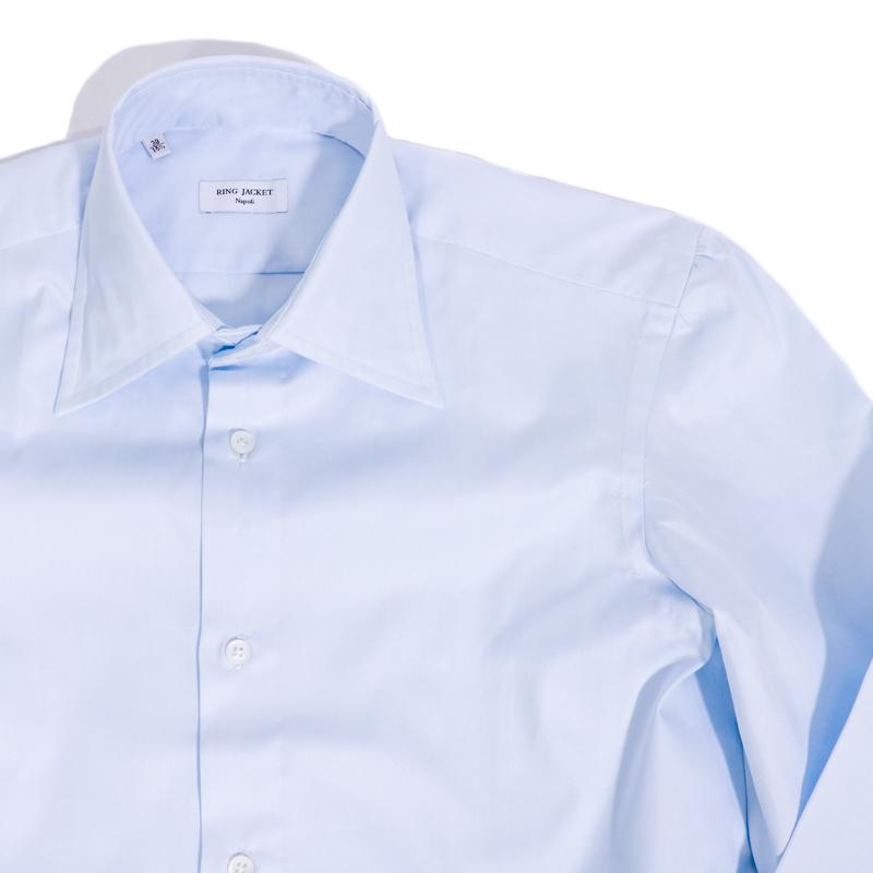 RING JACKET Napoli ロングポイント レギュラーカラーシャツ 【ブルー】