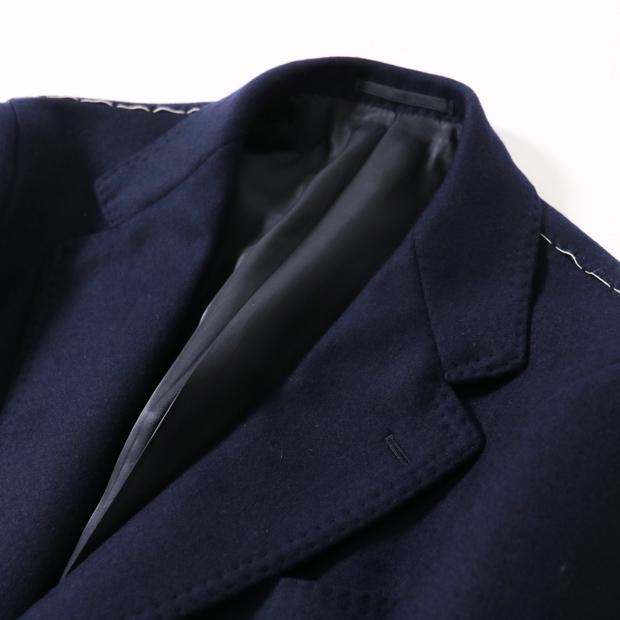RING JACKET シングルチェスターコート VBC メルトン【ネイビー/無地】
