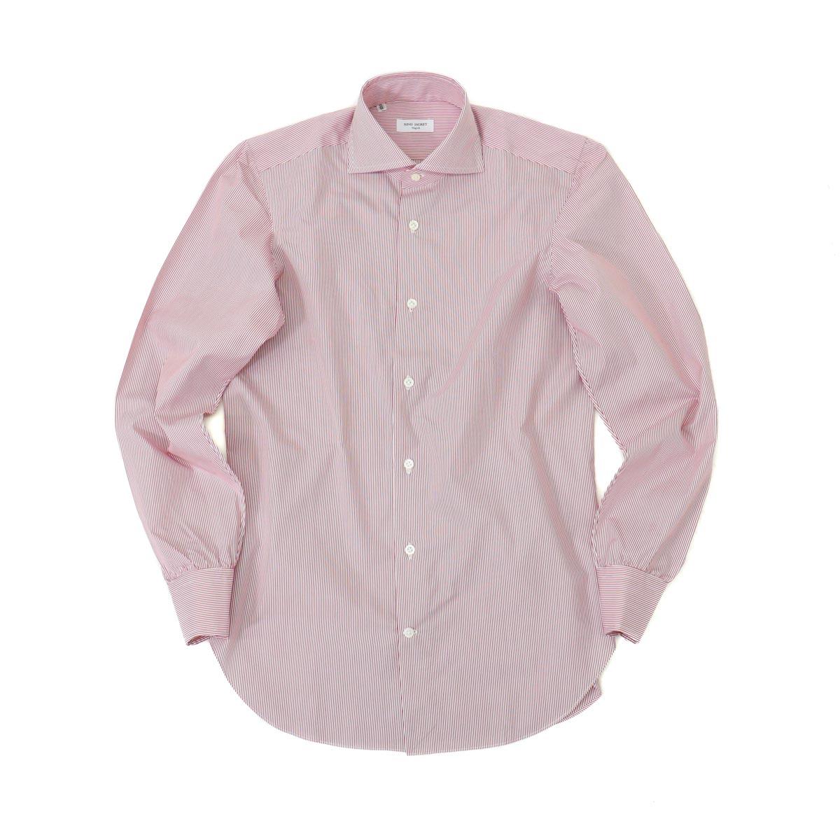 RING JACKET Napoli 12ポイントハンド ワイドカラーシャツ 【ストライプ / レッド】
