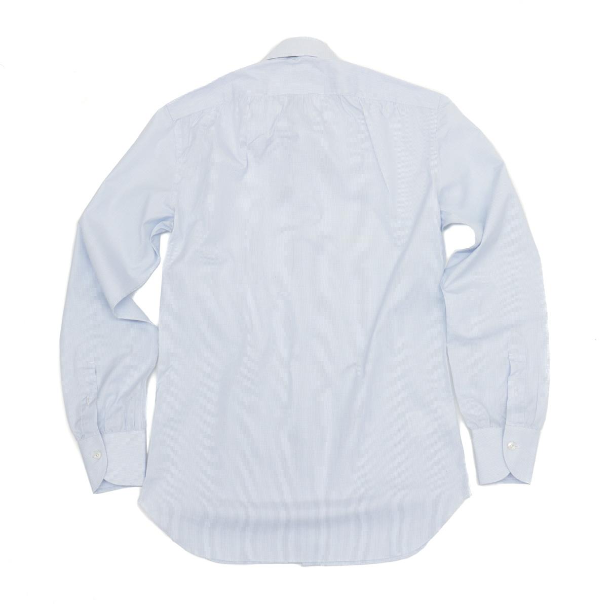 RING JACKET Napoli 9ポイントハンド ラウンドカラー シャツ 【マイクロチェック / サックスブルー】