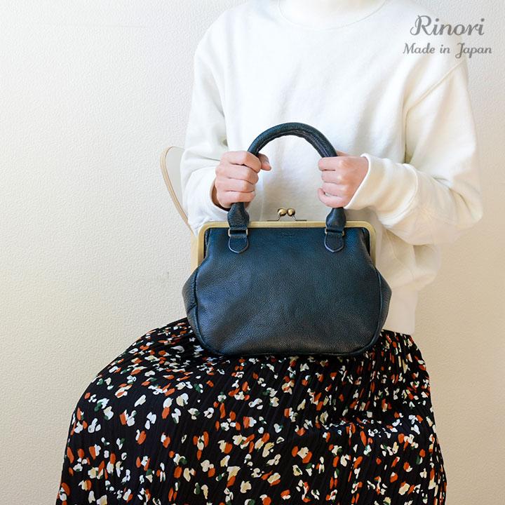 【人気】いつものシンプルコーデに華を添えてくれる本革日本製がま口ハンドバッグ