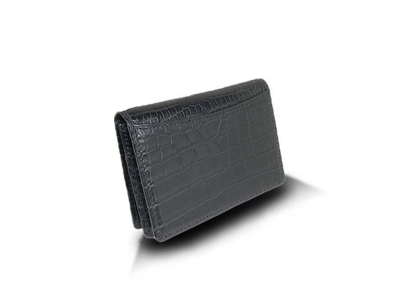 クロコダイル マット スクエアビジネスカードケース ブラック