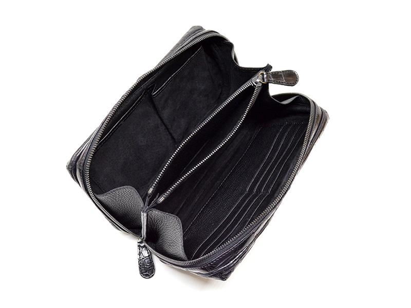 クロコダイル マット ハンドル付きクラッチバッグ ブラック