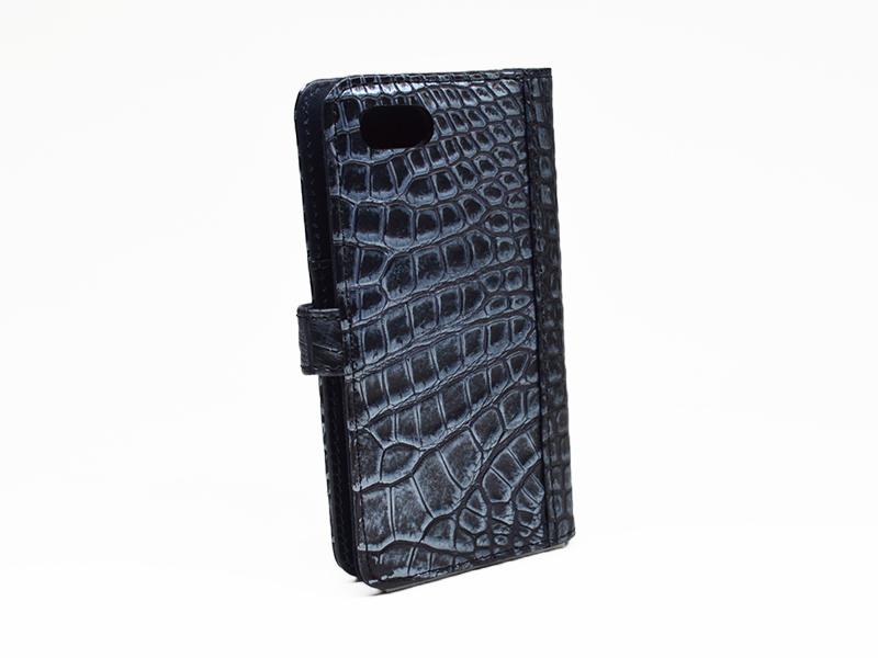 クロコダイル 頭貼り 手帳型 iPhone 7/8 ケース シルバー