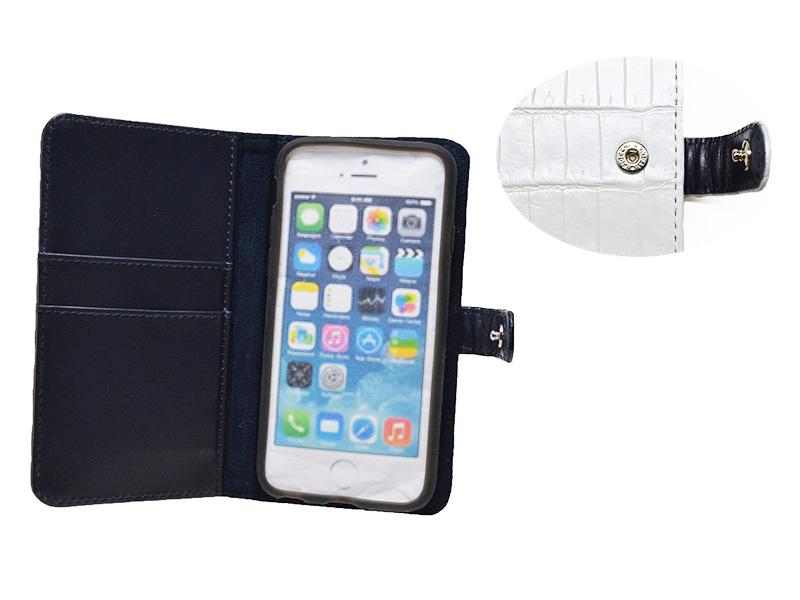クロコダイル マット 手帳型 iPhone 7/8 ケース ホワイトパール
