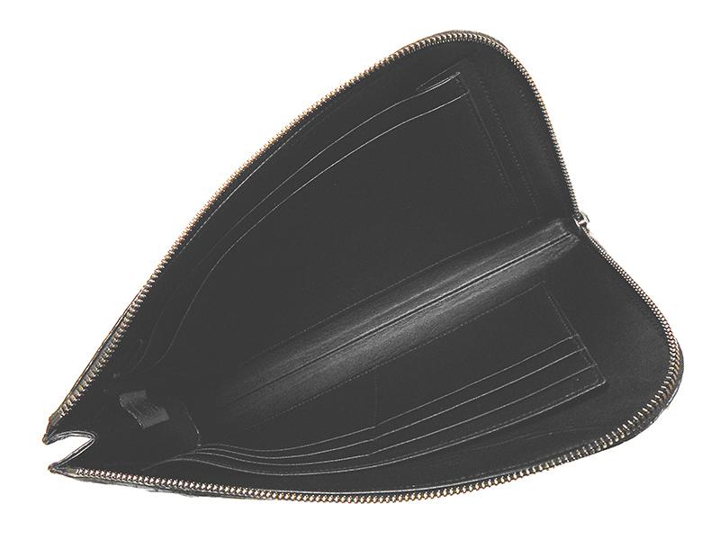 クロコダイル マット ミニクラッチ ブラック