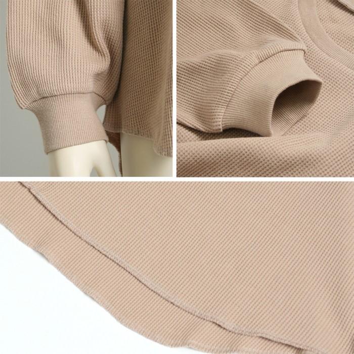 ワッフル素材ビックロングTシャツ