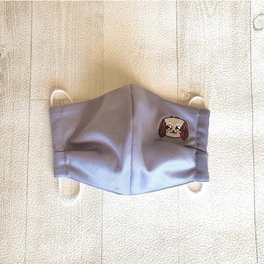 【送料一律350円】グレー マスク HANAの刺繍入り
