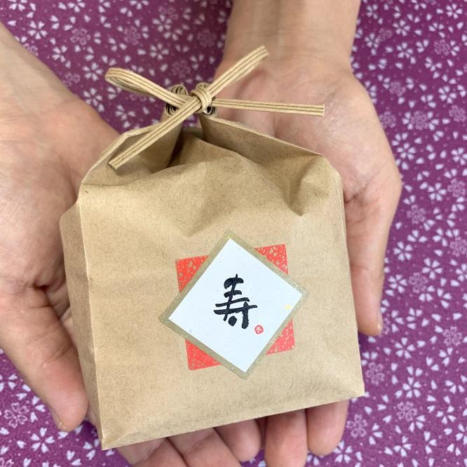 お祝い用 お米のノベルティ品(紙袋/シール付/約2合・300g)