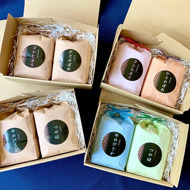 お米の手土産ギフトK(3合2個)魚沼コシヒカリ&福島ひとめぼれ クラフト紙袋