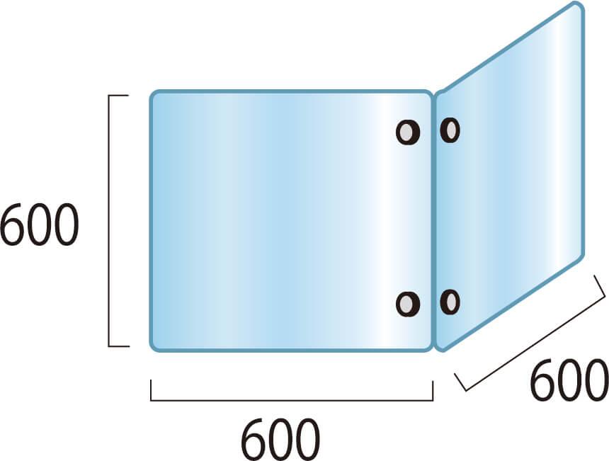 アクリルパーテーション2面タイプW600×H600×D600mm