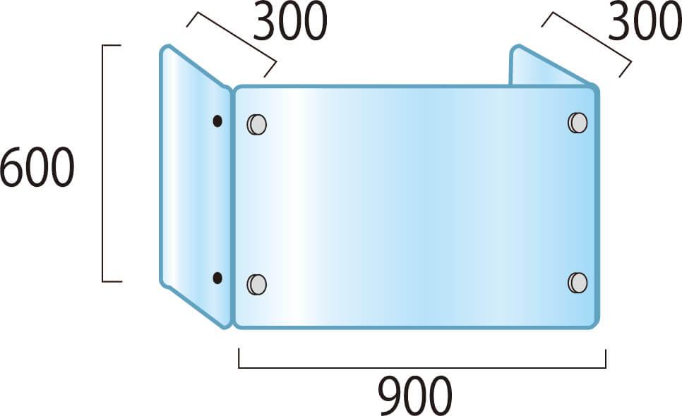 アクリルパーテーション3面タイプW900×H600×D300mm_2枚