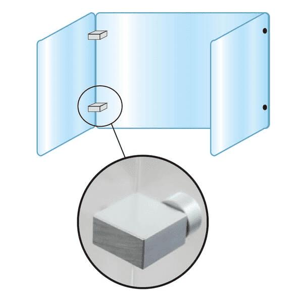 アクリルパーテーション3面タイプW900×H600×D300mm_2枚(窓付)